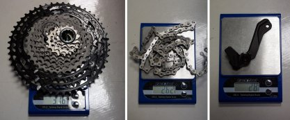 2019-Shimano-XTR-M9100-actual-weights-cassette-chain-chainguide